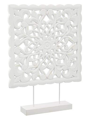 Meinposten. Holzornament mit Sockel weiß 50 x 37 cm Shabby Landhaus Holzbild Ornament Holz