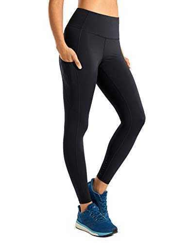 """CRZ YOGA Women's High Waisted Yoga Pants with Pockets Naked Feeling Workout Leggings-25 Inches Black 25"""" S"""