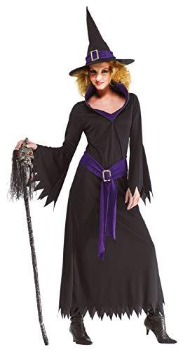 Foxxeo lila schwarzes Hexen Kostüm mit Hexenhut für Damen Fasching Karneval Halloween Größe XXXXL