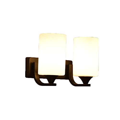 WANG XIN 2 Lichtlampen Wandleuchten Moderne Wandleuchte mit weißen Glasschirm Öl eingerieben Bronze Waschtisch im Bad Licht, Industrie Vintage-Wand befestigten Leuchten Schlafzimmer Küche Treppe