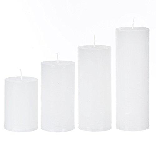 Preisvergleich Produktbild Adventstumpenkerzen rustik weiß 60 x 90-120-150-180