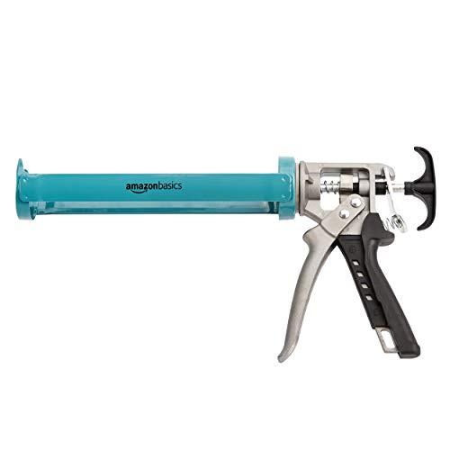 Amazon Basics - Pistola para sellado de calafateo, resistente, 310ml, relación de fuerza 12:1, mango de aluminio con empuñadura de soporte de plástico