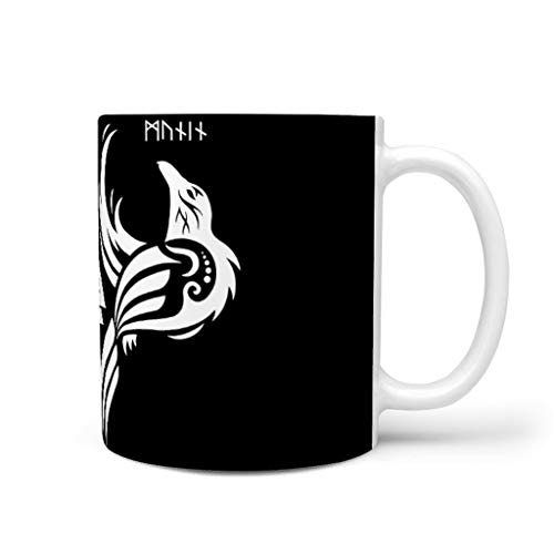Lustige Keramik Kaffeetasse Schwarz Wikinger Krähen Huginn und Muninn Keltisch Odins Raben Valknut Totem Druck Inspirierend Weiß Teetassen Bier Tasse Coffee Shop Geschenk Mugs für White 330ml