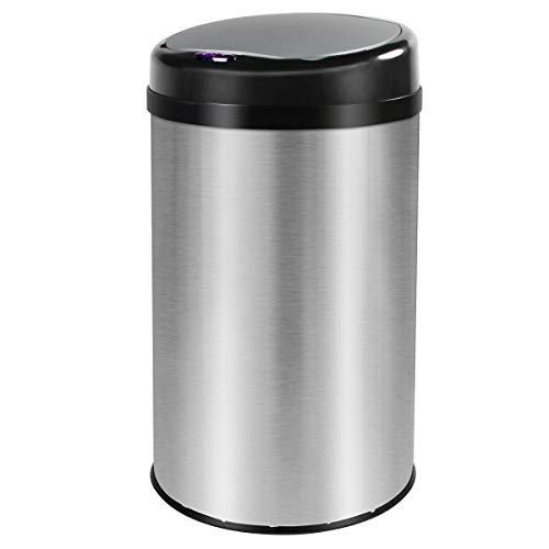Grandma Shark Küchen-Mülleimer, runder Sensor-Mülleimer mit Infrarot-Technologie, gebürsteter Anti-Fingerabdruck aus Edelstahl, 30 Liter (Silber)