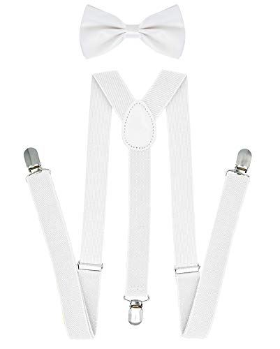 White Bow Ties and Suspenders for Men Suspender Dress Pants Bow Tie for Men