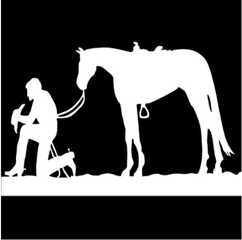 Cbhsjinsuxha 4 Piezas Pegatinas de Coche 15,6 cm * 10 cm Vaquero y Silla de Montar de Caballo Pony Mustang Vinilo Pegatina de Coche