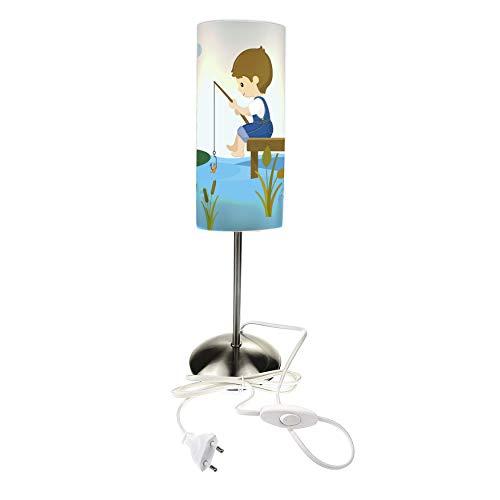 CreaDesign TI-1074 Frosch-Teich Nachttischlampe Kinderzimmer mit Namen, Kinder Tischlampe/Schlummerlicht mit Schalter für Steckdose, E14, 38 cm hoch