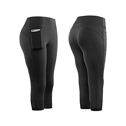 KEERADS Damen Leggings 3/4 con bolsillos dobles, pantalones de yoga, pantalones de deporte, mallas de entrenamiento, con funda para el teléfono móvil Negro M