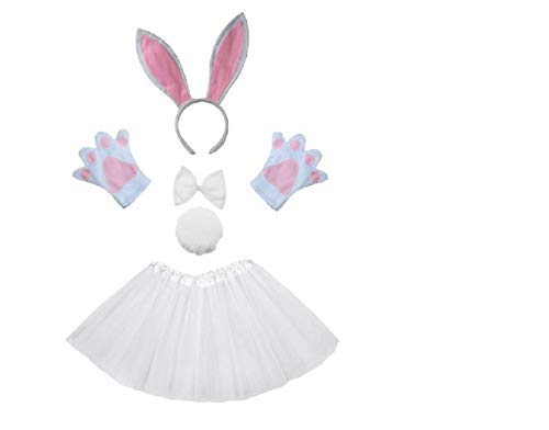 EVRYLON Juego de disfraz de conejo blanco para niña, diadema tutú, guantes, pajarita, cola, disfraces, accesorios para carnaval, Halloween, Cosplay, color blanco, excelente idea para regalo