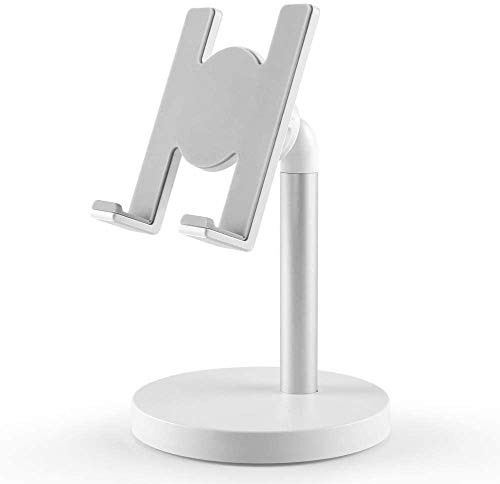 Cell Phone Stand, Adjustable Phone Stand for Desk, Adjustable Cell Phone Stand Compatible with Phone 11 Pro Xs Xs Max Xr X 8, iPad Mini, Nintendo Switch, Tablets (7-10'), All Phones, White