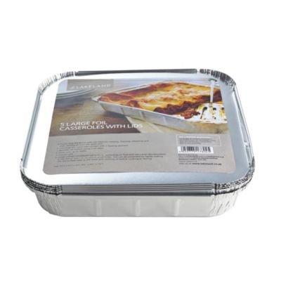 5 Large Foil 1.5L Casserole Dishes with Lids
