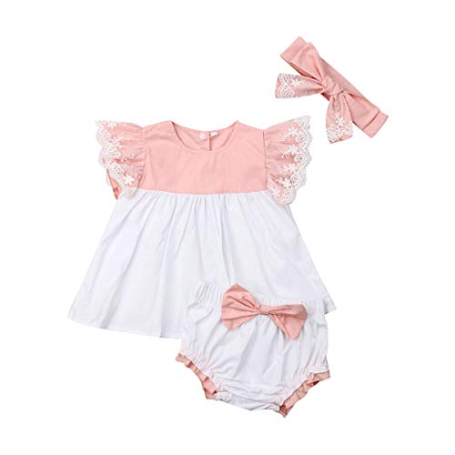 L&ieserram Vestido completo rosa para bebé de tres piezas de mono de...