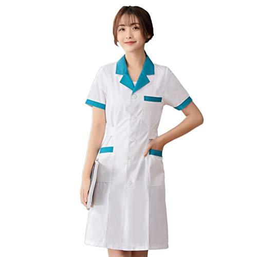 PRETYZOOM Damen Arztkittel Medizin Kittel Arbeitsmantel Krankenschwester Kostüm Kleid Berufsmantel OP Kleidung Krankenhaus Berufskleidung mit Stift Tasche Größe XXXL