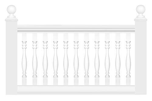 HEXIM Leichtbalustrade - Geländer/Brüstung aus PU Kunststoff weiß, Auswahl aller Komponenten - Perfect M1010 (Handlauf M1012)