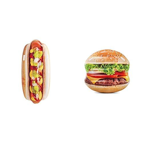 Intex 58771Eu Hinchable con Forma De Hot Dog Y Asas, Multicolor + 58780Eu Hamburguesa Hinchable Hiperrealista con Asas, Multicolor