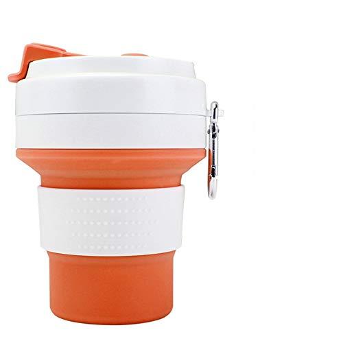 Song6 Strandzelt Faltbarer Reisebecher Faltbare Multifunktions-Camping-Sportflasche aus Silikon mit erweiterbarem Deckel und Verbrühschutz-Trinkbecher Camping Zelt (Color : Orange)