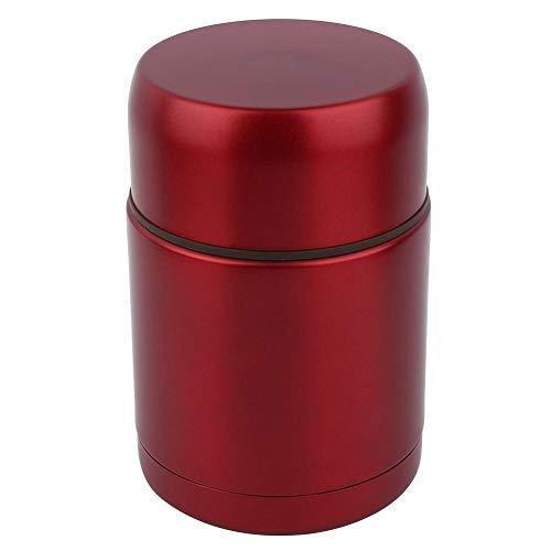Oumefar 800ml Edelstahl Thermoskanne Tragbare Vakuumbecher Thermoskanne Lebensmittelbehälter Wasserflaschen Stuffy Becher für Suppenbrei Ege(rot)