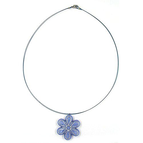 Halskette Kette Blüte blau-silber 40cm 07043