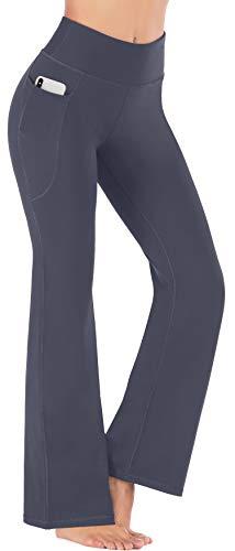 Heathyoga Women Bootcut High Waist Yoga Pants with Pockets, Gray, Medium