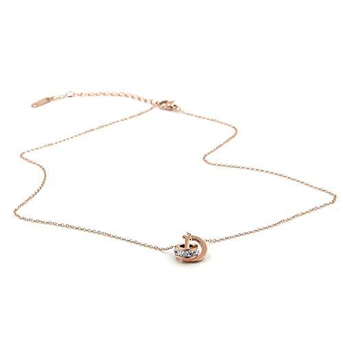 collar Anillo Con Colgante De Oro Rosa Entrelazado Annulus Collar De Acero Inoxidable 316 De Alto Pulido Para Mujer
