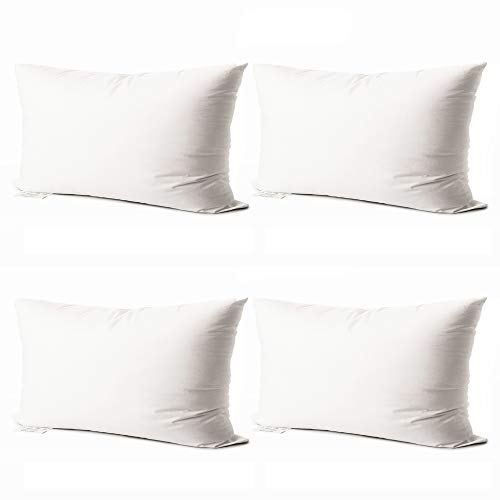 Edow Throw Pillow Inserts,Set of 4 Soft Hypoallergenic Down Alternative Polyester Square Form Decorative Pillow, Cushion,Sham Stuffer,Cotton Cover. (White, 12x20)