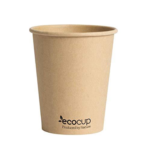 ECOBASED Biologisch Abbaubare Kompostierbare Einweg Pappbecher. Umweltfreundliche Kaffeebecher. 50 Stück 285ml/8oz. Kraft