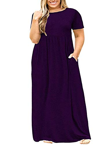 Womens Plus Size Maxi Dresses Short Sleeve Causal Summer Loose Plain T Shirts Long Dress with Pockets 4x Purple
