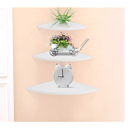 Zerone - Estantería esquinera de pared, color blanco, 3 niveles