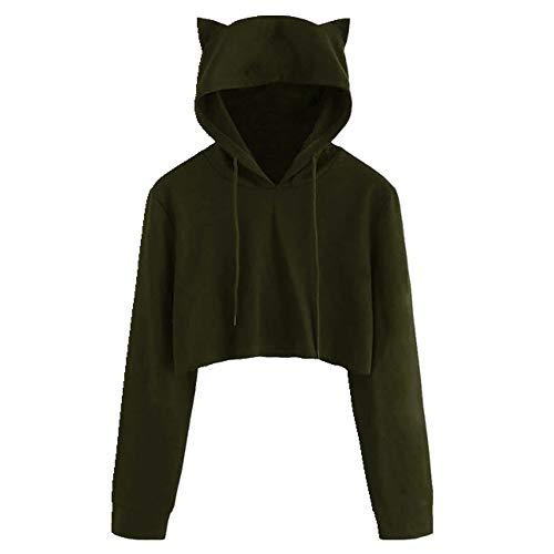 Sweat-shirt court à capuche pour femme avec oreilles de chat - Style kawaii - Avec cordon de serrage - Manches longues - Pour femme - Vert - L