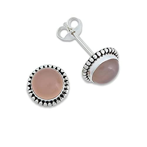 Pendientes de plata 925 con cuarzo rosa (No: MOS 41-07)
