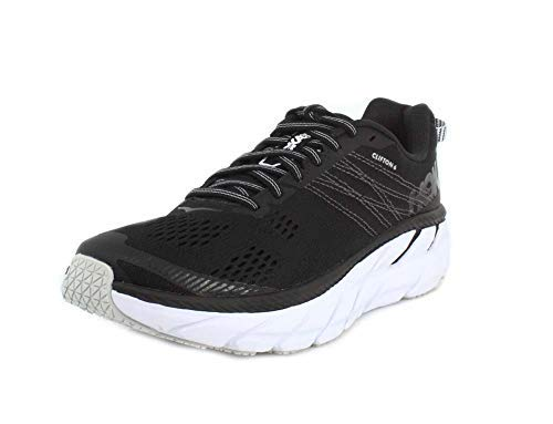 HOKA ONE ONE Womens Clifton 6 Black/White Running Shoe - 9.5