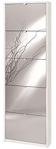 Sarmog Kit SCARPIERA 5 Ante A RIBALTA Frontale con Specchio H190 L63 P18 Cm Finitura Bianco OSSIDO Sk555spk