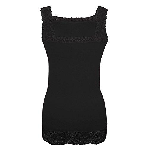 Glamexx24 La Dessous, dames geribbelde top met kant, dames shirt onderhemd met kant voor elke dag