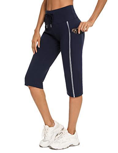 Irevial Pantalon Chandal Mujer Verano Pantalones Deportivos Mujer con Cordón y Bolsillos Pantalon Verano Mujer para Yoga Fitness Entrenamiento Correr