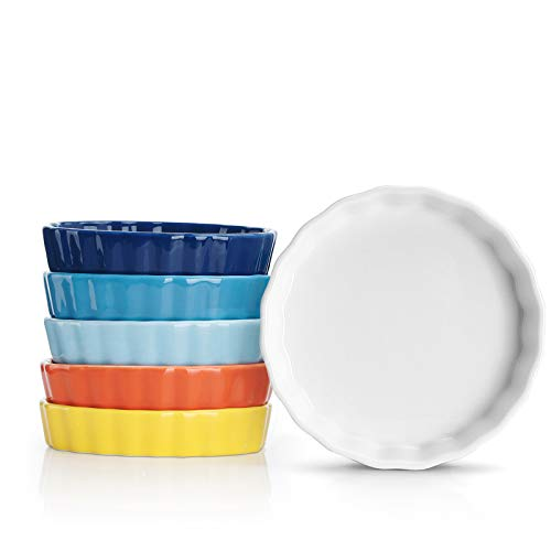 Sweese 505.002 Porcelain Ramekins Round Tart Pan Mini Fluted Quiche Dishes - 5 Ounce for Creme Brulee - Set of 6, Hot Assorted Colors