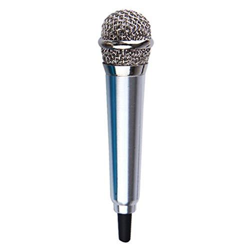 Greatangle Microfono per Telefono Cellulare Connettore Jack da 3,5 mm Condensatore Portatile con Voce da Studio Canta Professionale cablato con Auricolare Argento