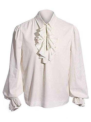 Fueri Men's Ruffled Gothic Shirts Medieval Lace Up Cosplay Steampunk Victorian Pirate Long Sleeve Halloween Costume Blouse Tops steampunk buy now online