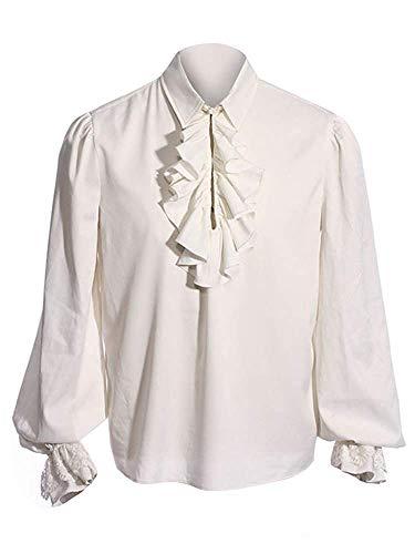 Herren Rüschenhemd Mittelalter Hemd Pirat Shirt Langarm Kostüm Renaissance Gothic Viking Viktorian Steampunk Karneval Männer Top, A-Weiß, L