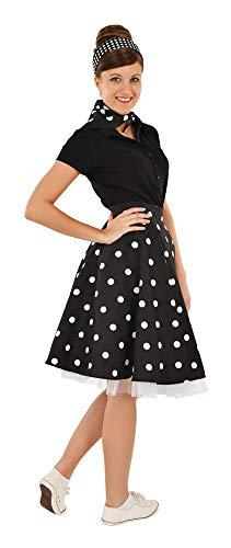Das Kostümland - Tellerrock mit Halstuch zum Rock´n Roll Fifties Rockabilly Kostüm - Schwarz Weiß Gr. M