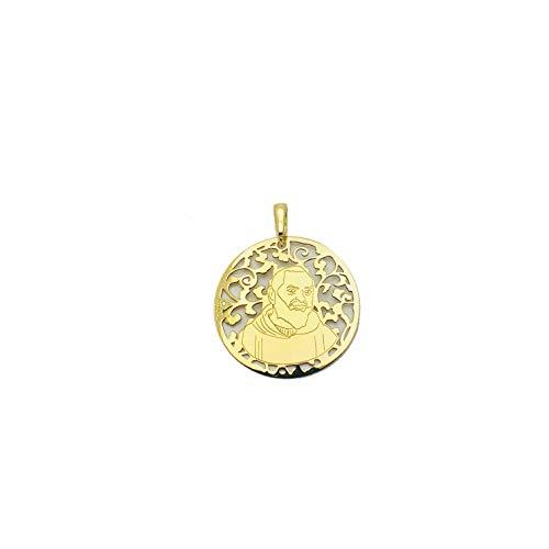 Medalla Padre PIO en Plata de Ley Cubierta de Oro de 18kt y Diamante