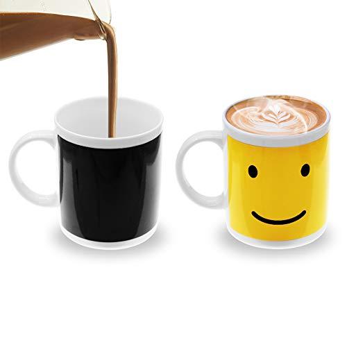 Fushing Magische Kaffeetasse mit Farbwechsel,Aufgerüstet Lustige wärmeempfindlich Lächelndes Gesicht Montag Kaffee Tee Becher Tasse für Kaffee,Tee,heiße Schokolade,Milch,Geburtstag Geschenk,Erntedank