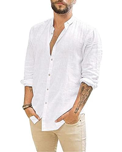 Jacansi Herrenhemden Herren-Leinenhemden Langarm-Freizeithemden Slim Fit-Hemden Weiß L
