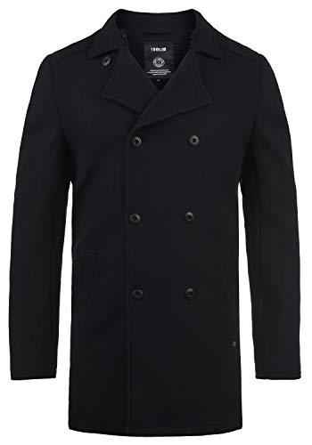 !Solid Harvey Herren Winter Mantel Wollmantel Lange Winterjacke mit Doppelreihiger Knopfleiste, Größe:L, Farbe:Black (9000)