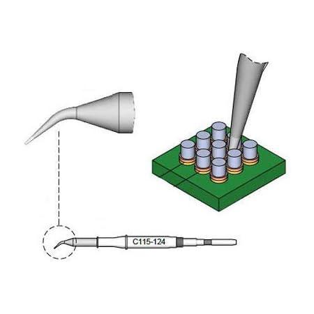 JBC C115118 c/ónica, curvada, di/ámetro 0,1 mm Punta de soldar