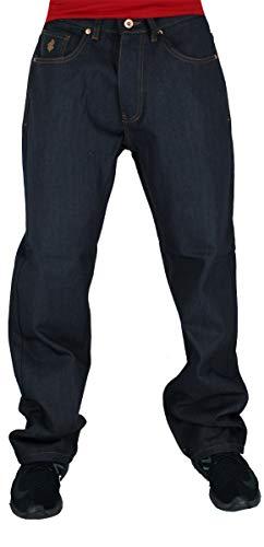 Rocawear Men's Double R Loose Fit Denim Jeans, Raw Japan (36W / 34L) Black
