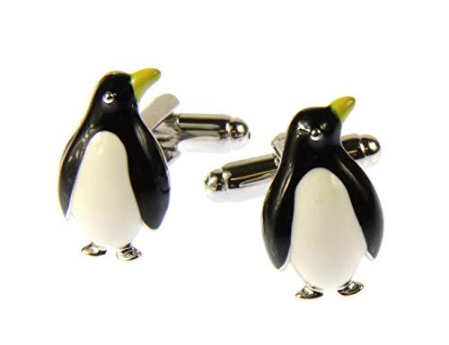 Miniblings Pinguin Manschettenknöpfe Knöpfe mit Box Südpol EIS Pinguine Emaille - Herrenschmuck Manschettenknopf Cufflinks Hemdknöpfe I Holzbox inklusive