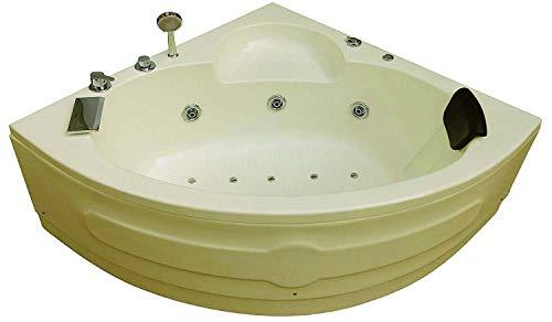 MADONNA Leo Acrylic 4.5 ft Massage Corner Bath Tub with Jacuzzi and Bubble Bath - Ivory