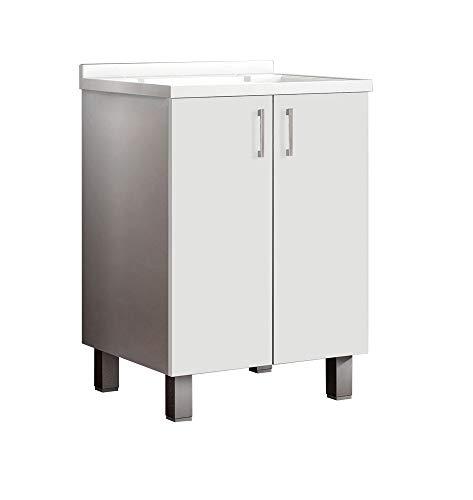 MaMa Store ATENALAV Mobile Lavatoio-Lavapanni Bianco in Metacrilato con ASSE in Legno e gocciolatoio in Alluminio, L.60 x P.50 X H. 86 cm