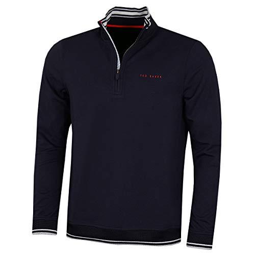 Ted Baker 2020 - Sudadera de golf para hombre con punta de cacahuete acanalada y cremallera 1/4, Sudaderas, Vellones, Hombre, color azul marino, tamaño S