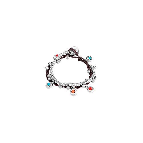 UNO de 50 Classics PUL0777MCLMAR0M - Pulsera de piel con perlas bañada en plata de 16cm, para mujer